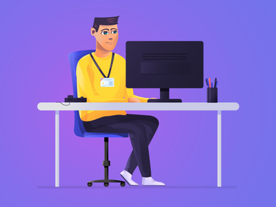 At the office computer desk yellow man character illustraion