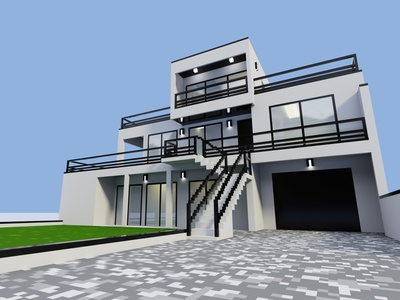 Realistic modern house magicavoxel voxel house