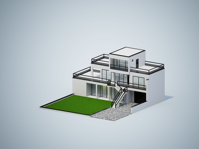Realistic isometric modern house house iso magicavoxel voxel art voxel