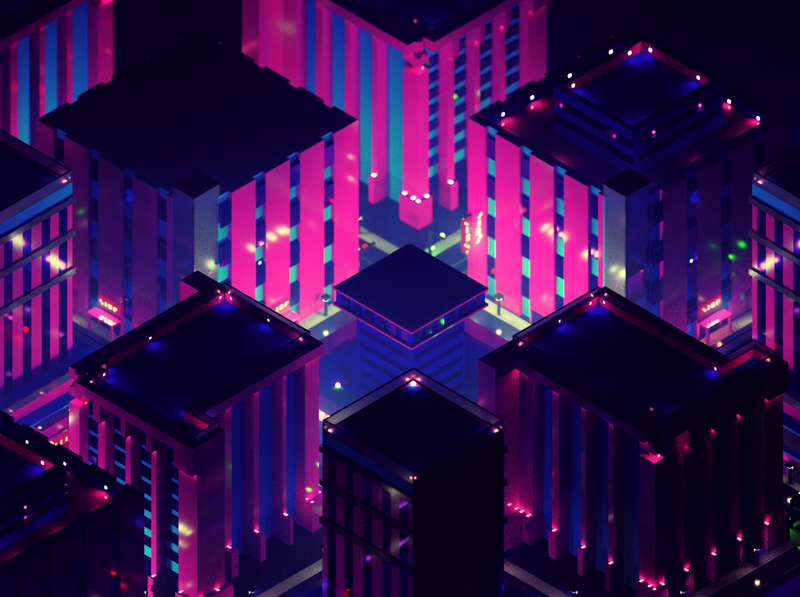 Voxel pink city illustration voxel art isometric building blue pink magicavoxel voxel