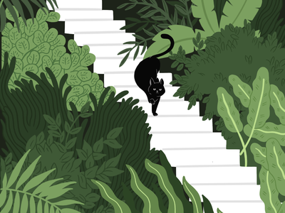 Flora and Fauna forest cat botanical illustration botanical art botanical plants flat comicart cartoon vector illustration digitalart design