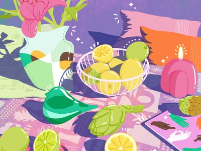 Still Life Challenge 1 objects illustration food illustration still life art comicart flat colorful still life illustration still-life stilllife maximalism illustration digitalart design