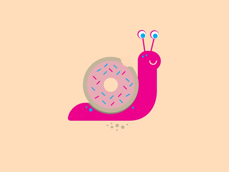 Hangry Snail crumbs hangry donut snail vector illustration challenge year project 52weeks