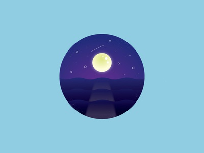 An Ocean of Stars pnw pacific ocean water shooting star moon night ocean vector illustration challenge year project 52weeks
