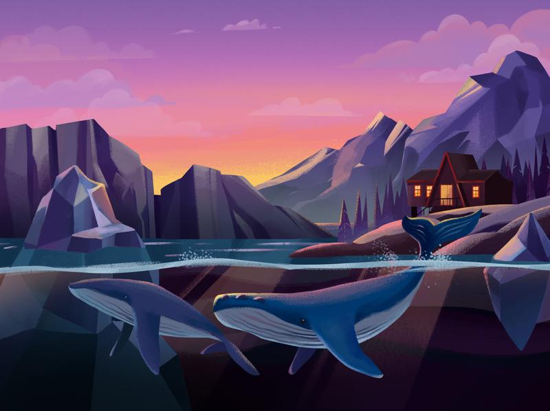 Whales Illustration artwork art adobe photoshop web illustration adobe illustrator illustration whales