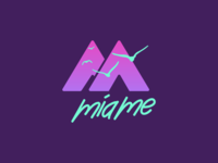 MIAME LOGO bird logo summer branding adobe illustrator logo design miami negative space negativespace logo