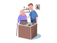 Care Service grandpa old man care vector art artwork flat web illustration flat illustration illustration adobe illustrator