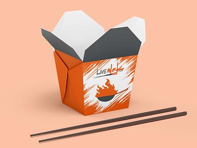 Noodle Box Design packagingdesign print design restaurant branding chopsticks food wok chinese food brand identity noodlebox branding design