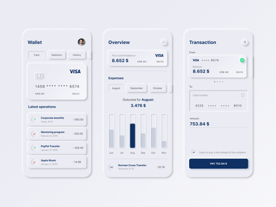 Neomorphism / Soft UI Banking Concept banking app mobile concept neomorphism soft ui uidesign uxdesign
