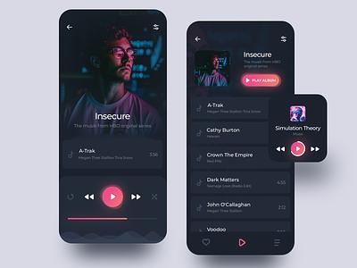 Music Player DarkUI digital design top shots gradient color ux ui music app music dark ui dark application app