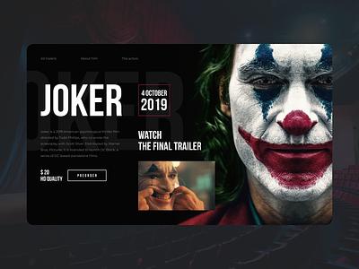 Joker desktop concept top shots dark dark ui desktop website film trend 2019 ui comics dc comics dc joker