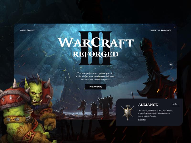 WarCraft 3 Reforged desktop trends world of warcraft 2019 concept design game blizzard dark ui ui warcraft war