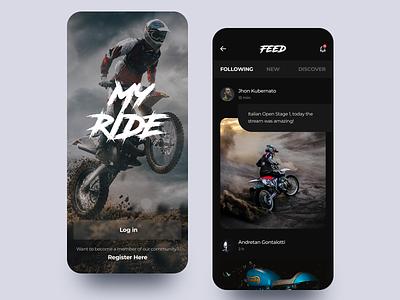 MyRide Motocross top shots ui application digital app 2019 dark ui darkui dark motocross moto