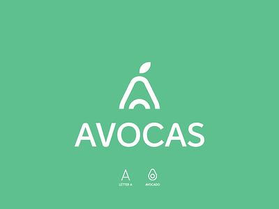 Avocado+A illustration letter avocado fruit app clean concept branding brand vector modern logo minimal identity design