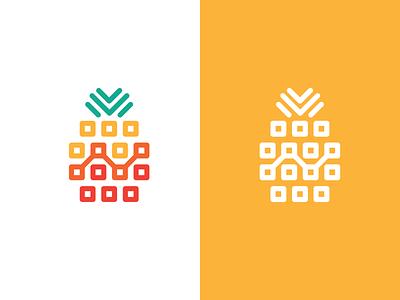 pineapple tech fruit flat technology tech pineapple app illustration concept branding brand vector modern minimal logo identity design