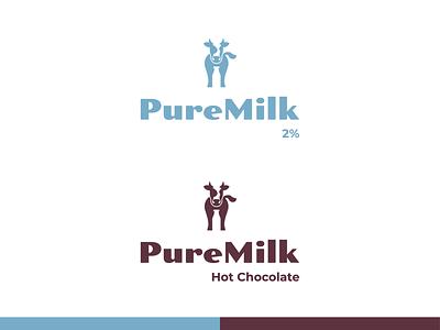puremilk dairy farm milk cow flat illustration concept branding brand vector modern minimal logo identity design