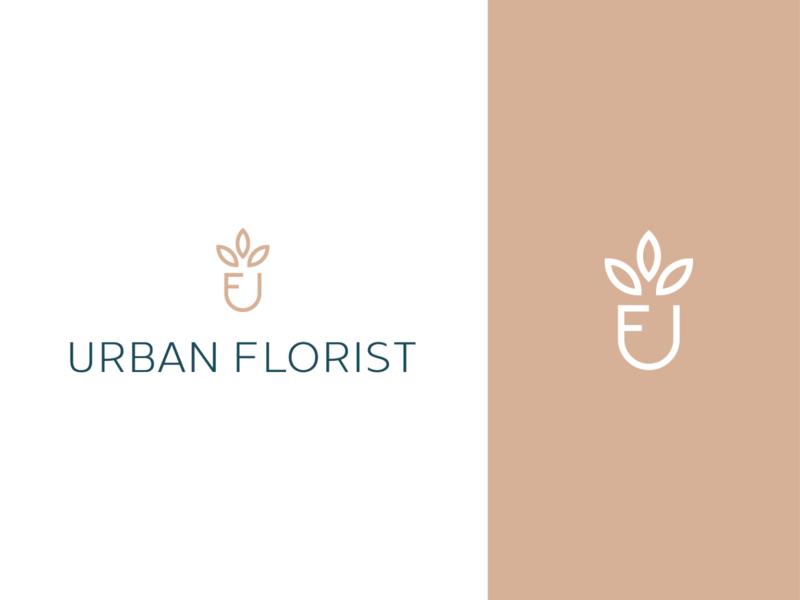 Urban Florist gardening gardener plant leaves urban floral florist flat illustration concept branding brand vector modern minimal logo identity design