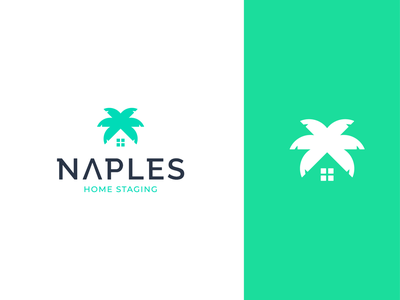 Naples Home Staging realestate house home tree palm app illustration concept branding brand vector modern minimal logo identity design