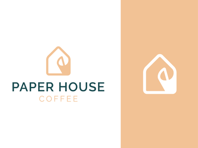paper house coffee app cafe home coffee house paper illustration concept branding brand vector modern minimal logo identity design