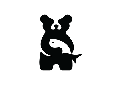 BearFish negative space fish bear app flat illustration concept branding brand vector modern minimal logo identity design