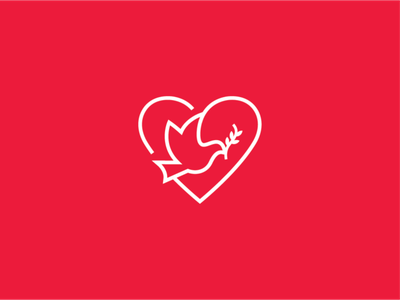 bird 2 bird heart flat illustration concept branding brand vector modern minimal logo identity design