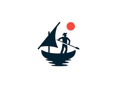 boatman sailboat sail sun man boat flat illustration concept branding brand vector modern minimal logo identity design