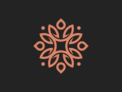 Floral garden app flower drop leaves floral flat illustration concept minimal branding brand vector modern logo identity design