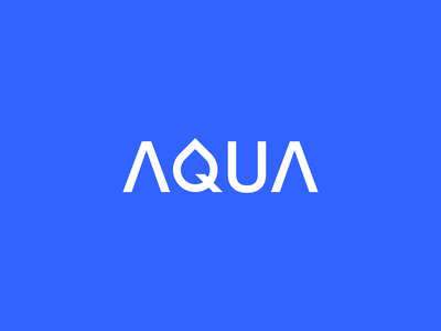 AQUA drop water typography typeface aqua app flat concept branding illustration brand modern minimal vector logo identity design
