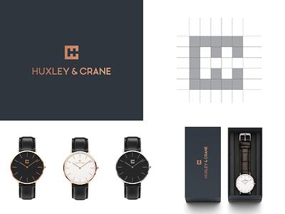 Huxley & Crane watch hc flat illustration concept branding brand modern minimal vector logo identity design