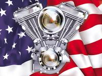V-Twin Engine & Flag