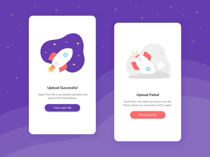 011 Flash Message 100daychallenge day11 spaceship rocket retry message error message upload file upload fail failed failure error success flash message illustration design dailyuichallenge dailyui