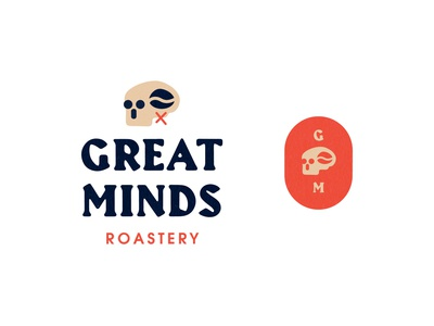 Great Minds Roastery brand identity type badge logo coffee logo skull logo vector logo brand and identity typography branding