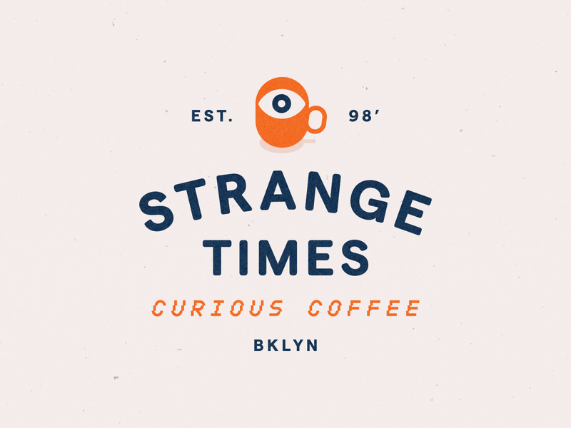 Strange Times logotype small business eye logo coffee logo vector brand and identity typography branding
