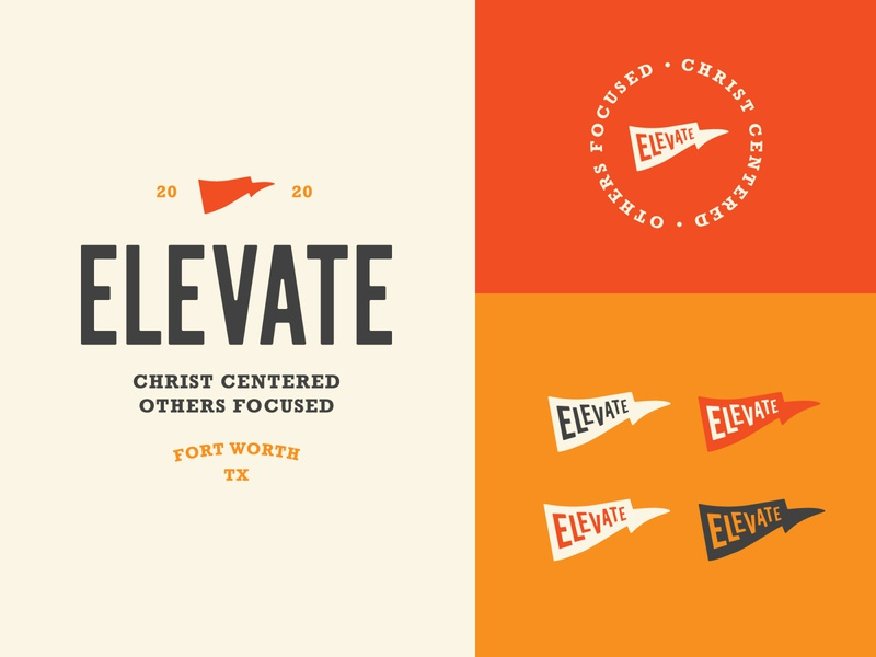 Elevate church branding church logo church pennant flag logo flag camp logo camp graphicdesign editorial design logo design brand and identity typography branding