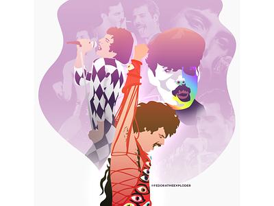 Freddie Mercury artwork illustration vectors queen graphic design design illustrator vector illustration fashion freddie vector freddie mercury