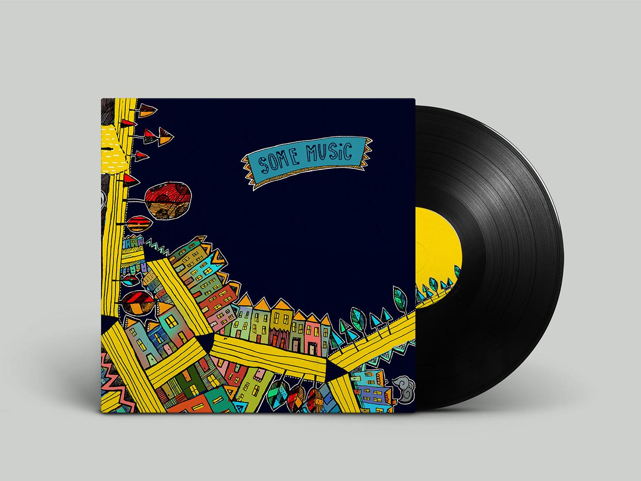 Vinyl cover cover cover design multicolor music city illustration cover art vinyl