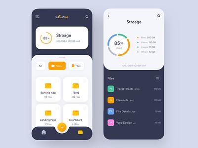 Cloud App Design concept color cloud storage folder dashboard static imran cloud app cloud ios app design app ui minimal app design design app ui design minimal app app  design ux app concept ios app app