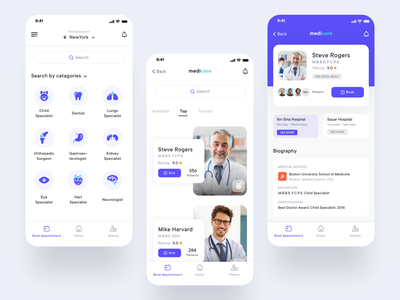 Project: Medicare design doctor appointment doctor booking app imran medical app minimal app design app ui design app  design app concept ios app app ux