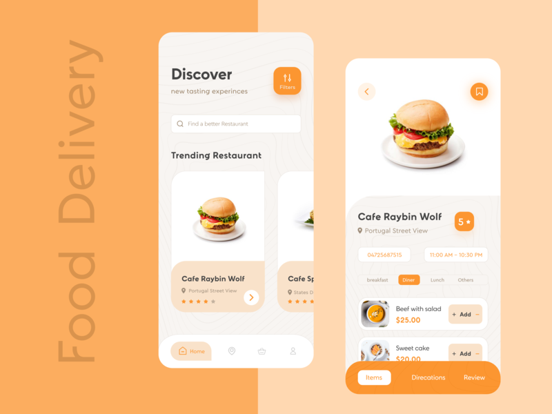 Food Delivery ios App UI food app uiux smooth app clean color minimal app burger restaurants details page food delivery app concept restaurants app ios app