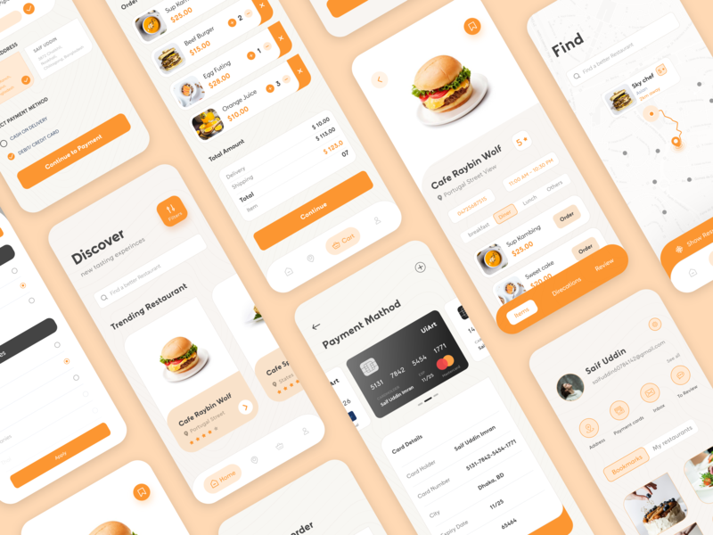 Food Delivery ios App ios app mobile app design user experience userinterface creative app design food burger restaurant design food app ui find filter profile cart home resturants ui kits uiux ui food delivery application