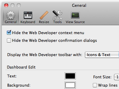 Web Developer options extension firefox options