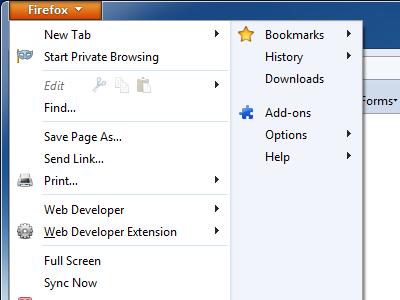 Web Developer app menu windows extension firefox menu