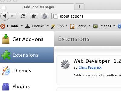 Web Developer 1.2 firefox extension mac toolbar