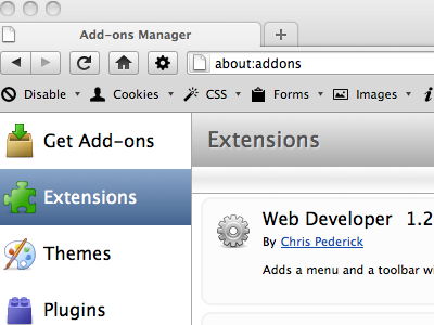 Mac skin for Web Developer extension firefox mac toolbar