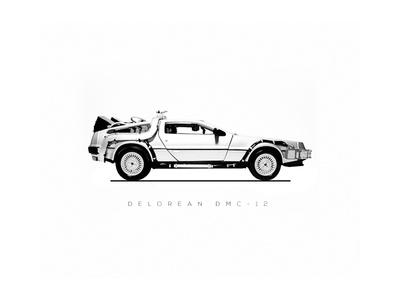October 21st, 2015 simple minimal bw back-to-the-future car poster