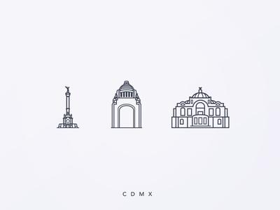 Mexico Icon Set architecture monuments streets city mexico illustration icon design