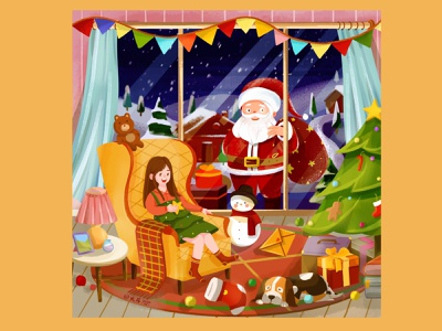 Merry Christmas illustration art 场景设计 design illustration