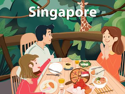 Singapore vector travel food food illustration design illustration