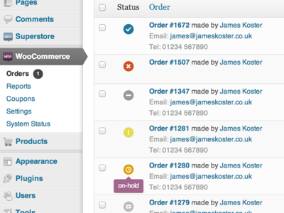 The new order status icons coming to WooCommerce 2.0. Exciting.