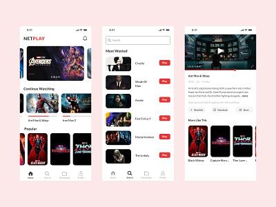 Netplay - Movie Streaming App streaming film streaming movie ui ux ui design film movie streaming app movie app movie ui